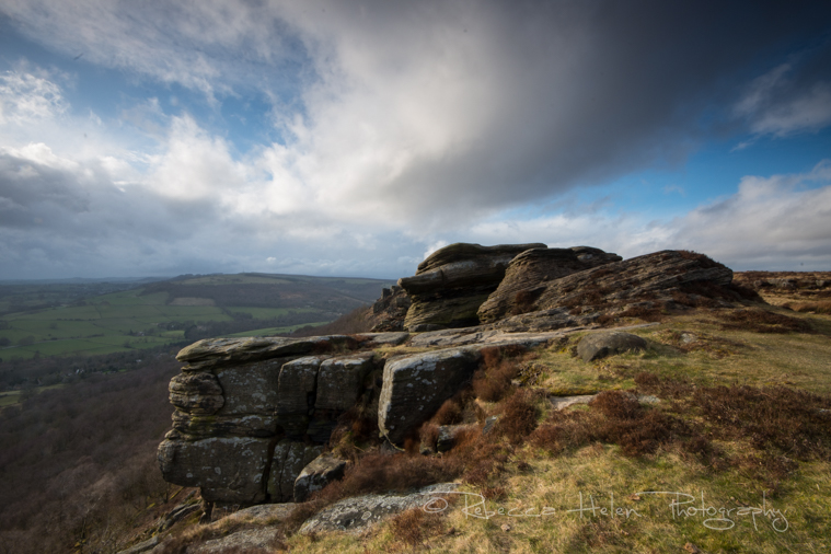 Clouds over rock face in the Peak District