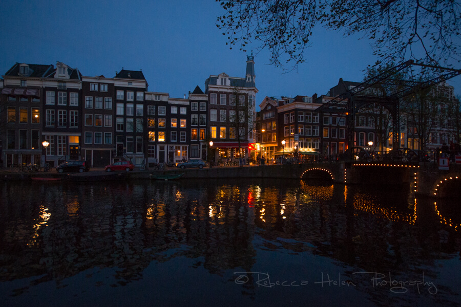 Lights over the canals at night in Amsterdam