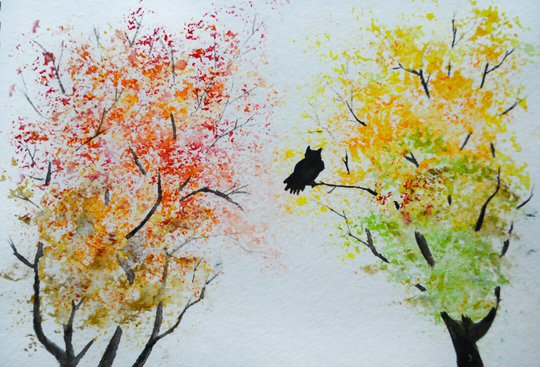 Rebecca Helen Photography & Art watercolor trees and owl