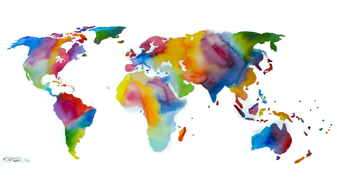 Water Color World Map 3