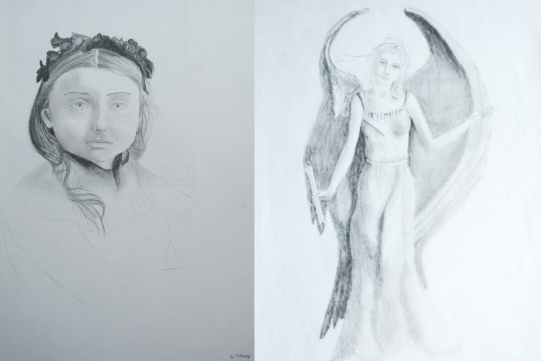 Pencil drawing diptych by Rebecca Helen Tribelhorn